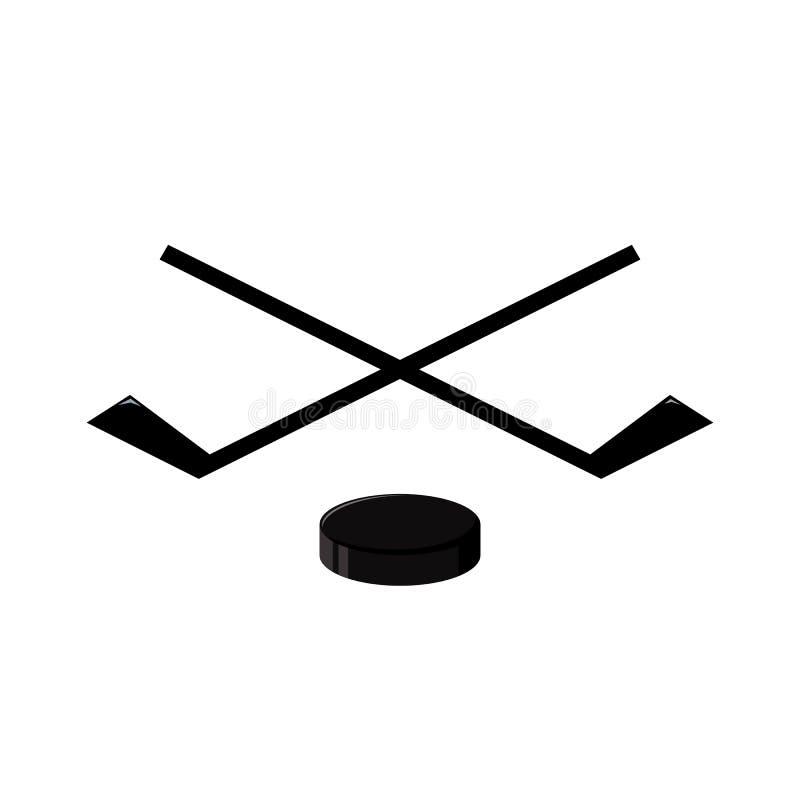 Hokejowy emblemat jest hokejowymi kijami krzyżującymi krążkami hokojowymi i royalty ilustracja