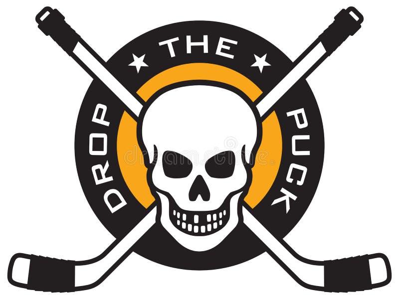 Hokejowy emblemat z czaszką i krzyżującymi hokejowymi kijami ilustracja wektor