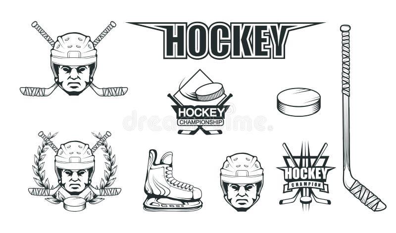 Hokejowy hełm Profesjonalista lodowa ilustracja Czaszka z hokejowym hełmem Lodowy gra logo Bramkarz maska z kijami ilustracji