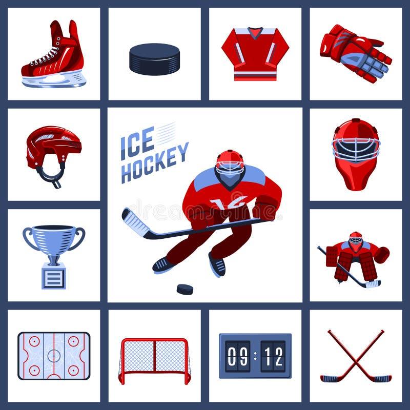 Hokejowy ikona set ilustracji