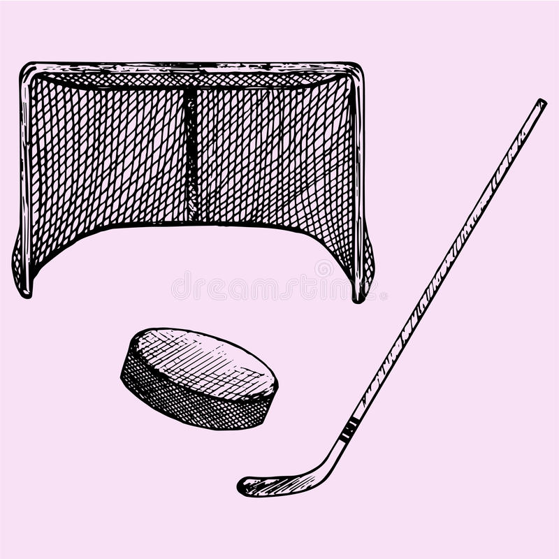 Hokejowy kij, hokejowy cel i krążek hokojowy, ilustracja wektor