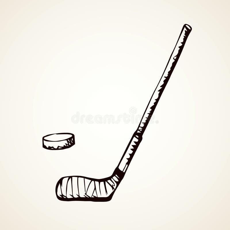 Hokejowy kij rysuje tła trawy kwiecistego wektora ilustracji