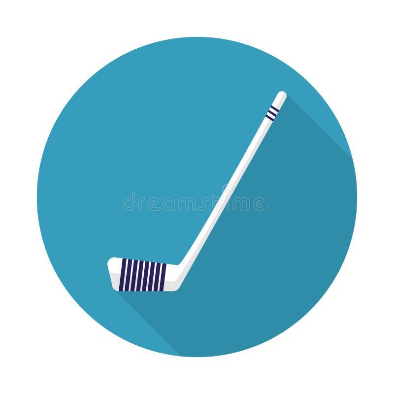 Hokejowy kij z długim cieniem, hokejowego kija ikony wektorowa ilustracja Hokejowego kija płaska ikona na błękitnym tle royalty ilustracja