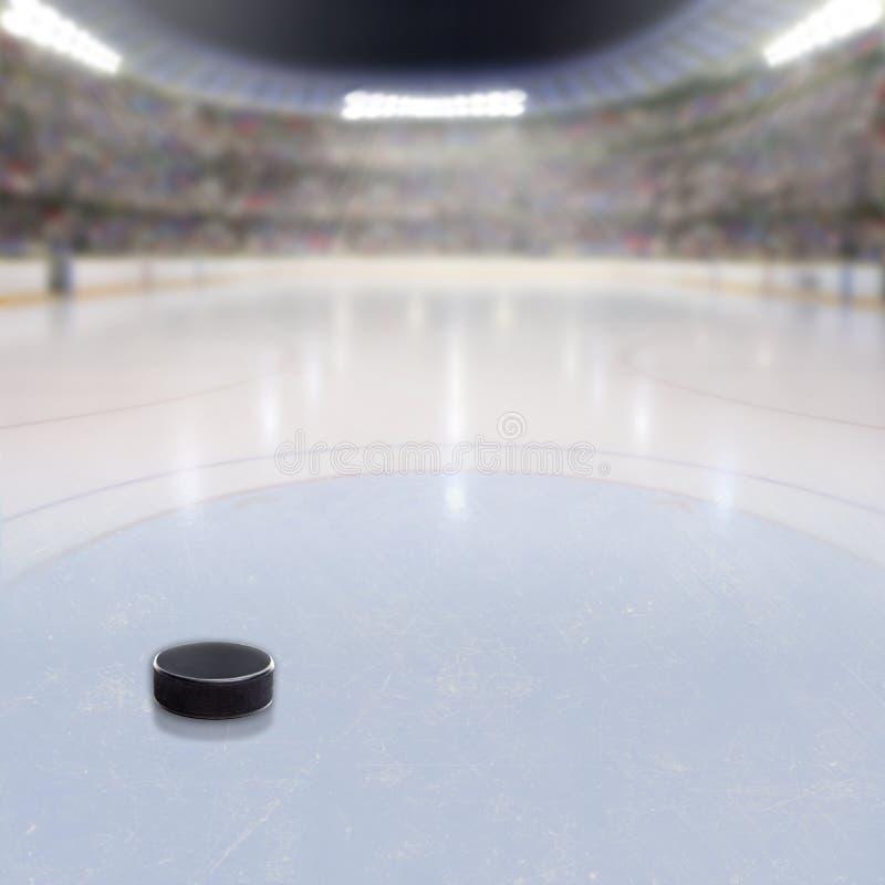 Hokejowy krążek hokojowy na lodzie Zatłoczona arena ilustracja wektor