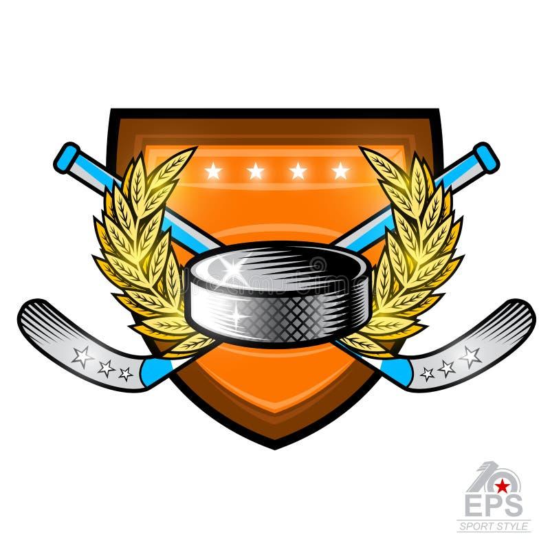 Hokejowy krążek hokojowy z krzyżującymi hokejowymi kijami w centrum złoty wianek na osłonie Bawi się logo dla jakaś drużyny odizo ilustracja wektor