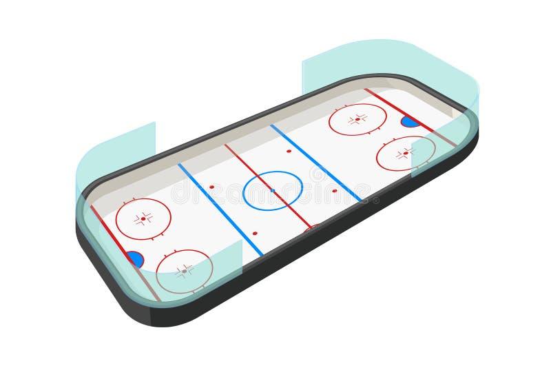 Hokejowy lodowisko na bielu royalty ilustracja