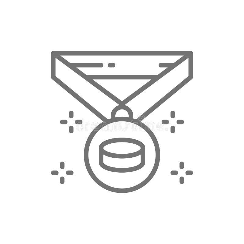Hokejowy mistrza medal, zwycięzca nagroda, trofeum kreskowa ikona ilustracji