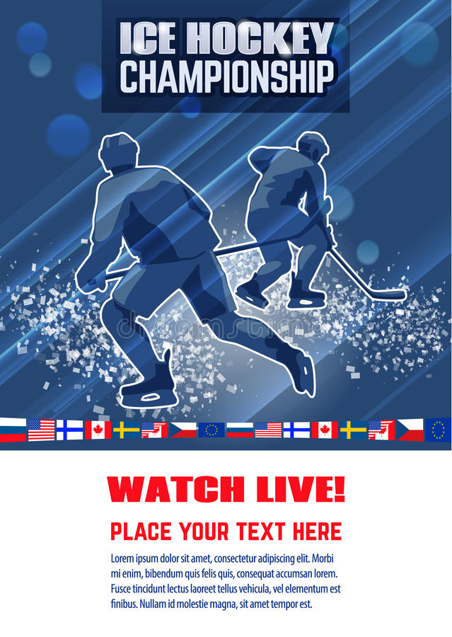 Hokejowy pojęcie plakata szablon Międzynarodowy mistrzostwo ilustracji