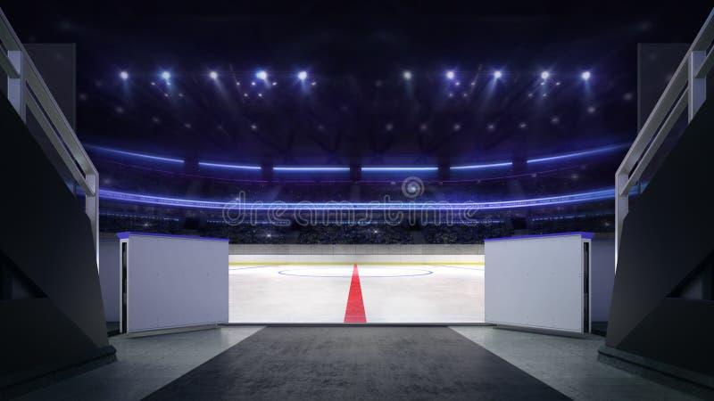 Hokejowy stadium lodowego lodowiska wejściowy korytarz z rozmytym tłem royalty ilustracja