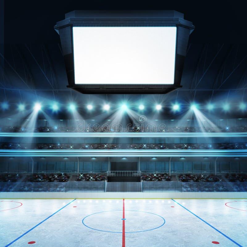 Hokejowy stadium z fan i pustą sześcianu teksta przestrzenią ilustracji