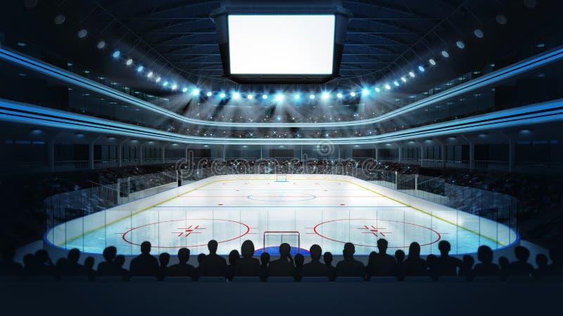Hokejowy stadium z widzami i pustą sześcianu teksta przestrzenią ilustracja wektor