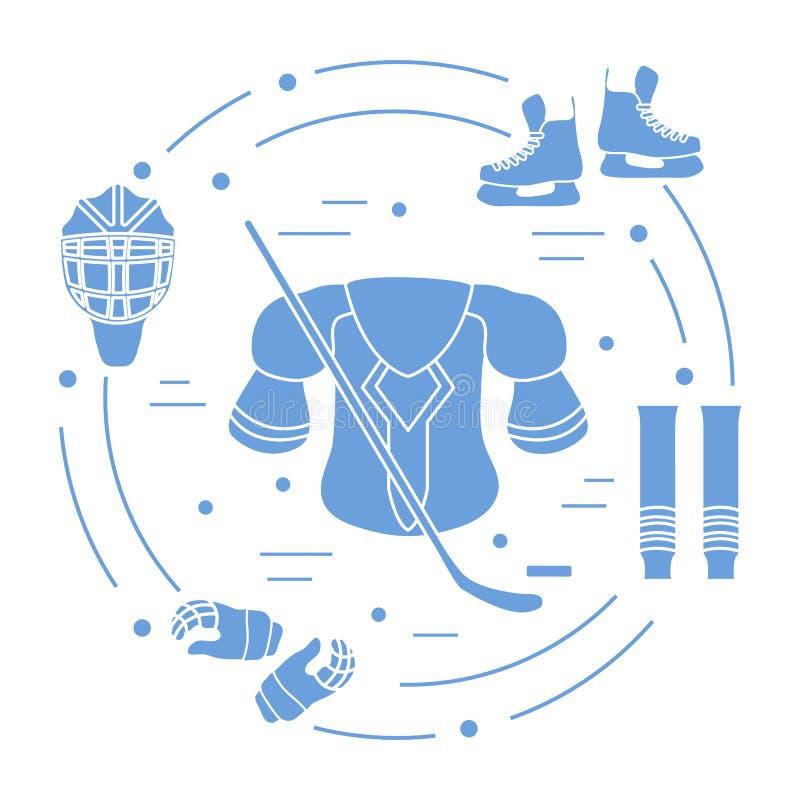 Hokejowy wyposażenie Zima sportów elementy ilustracja wektor