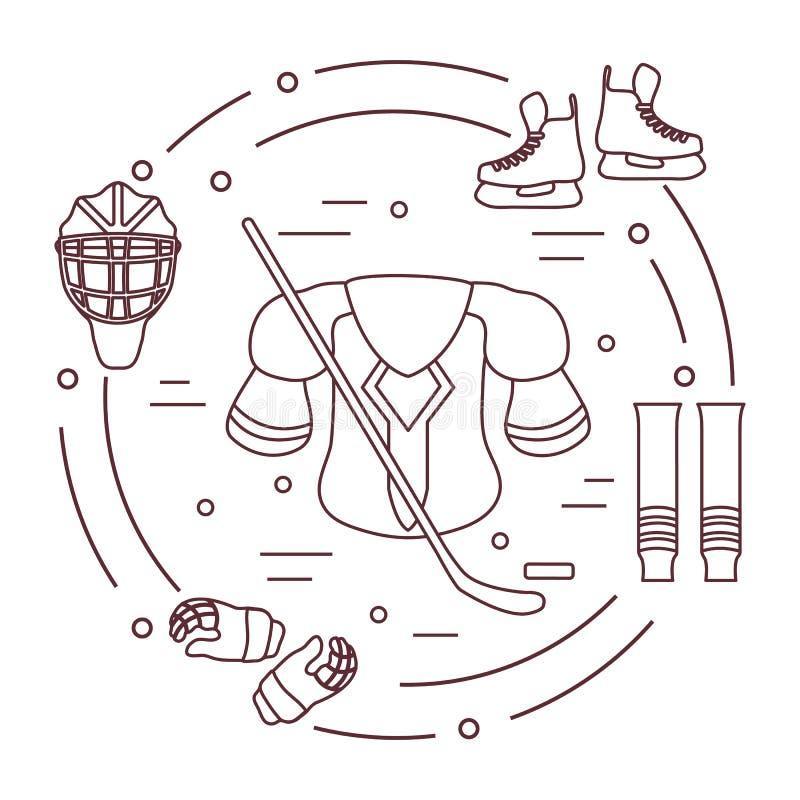 Hokejowy wyposażenie Zima sportów elementy royalty ilustracja