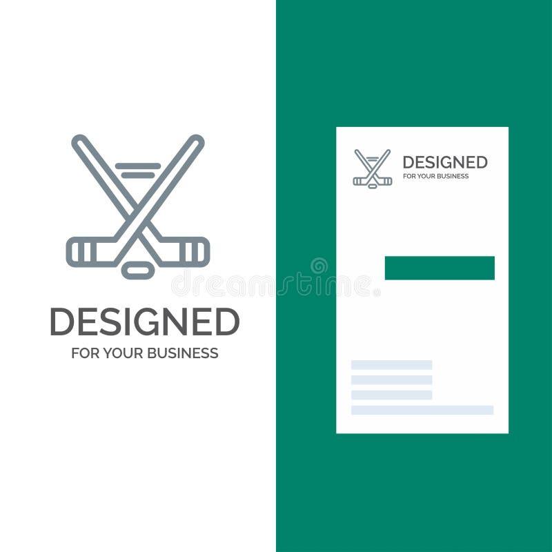 Hokey, Ice Sport, Sport, American Grey Logo Design and Business Card Template ilustração do vetor
