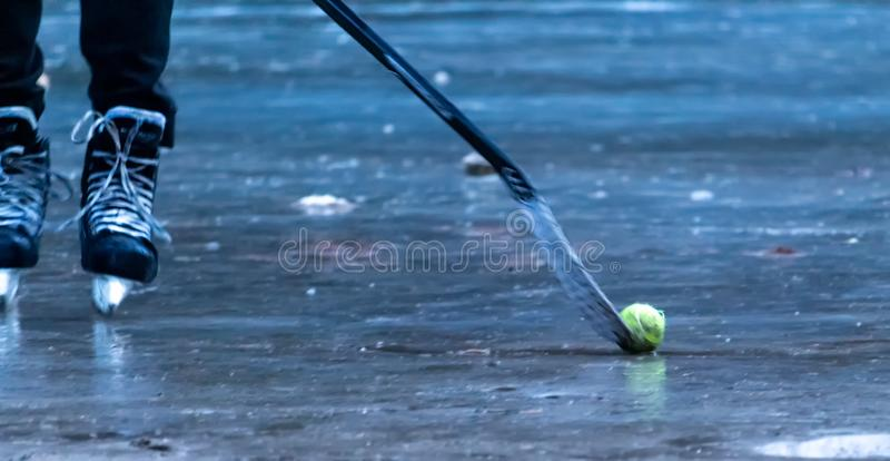 Hokey player on the frozen lake hitting the ball with the bat stock photo