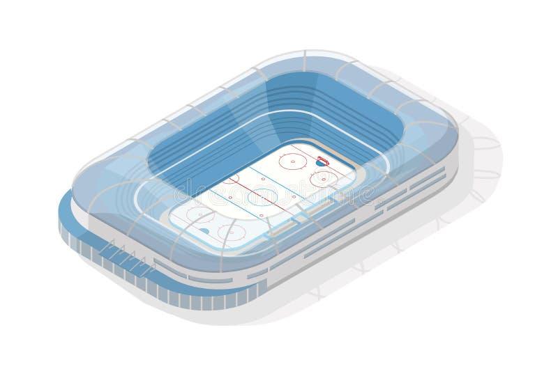 Hokey stadion för isometrisk is Sportmötesplats eller arena som isoleras på vit bakgrund Byggnad eller struktur för det sportslig vektor illustrationer