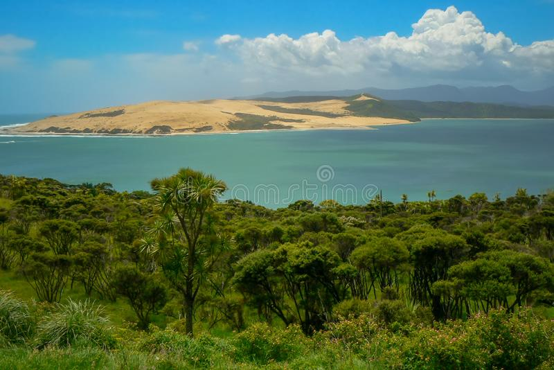 Hokianga Harbour and river in summer, North Island, New Zealand. Panoramic view of Hokianga Harbour and river, trees on the river bank, North Island, New Zealand stock photo