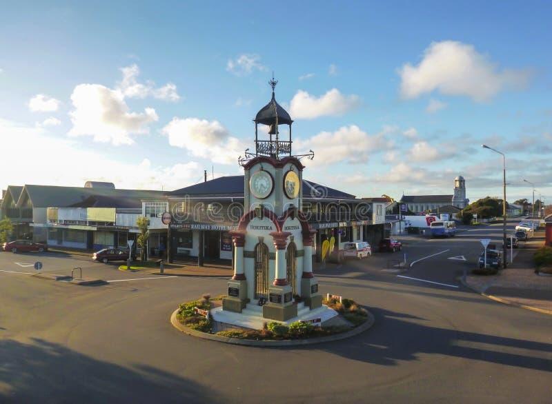 HOKITIKA, NEW ZEALAND - JULY 2014- Hokitika Clock Tower in Central business district. HOKITIKA, NEW ZEALAND - JULY 2014- Hokitika Clock Tower in Central royalty free stock images