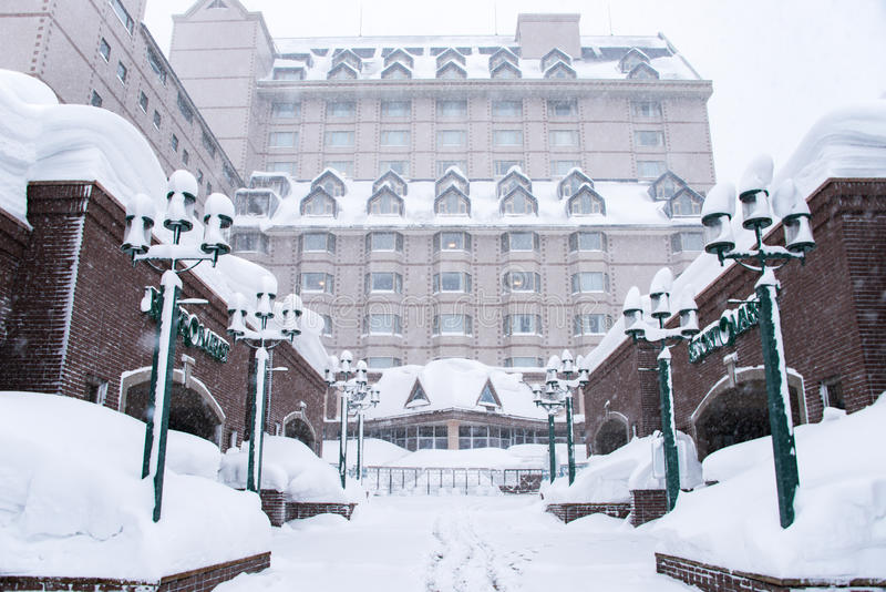 Hokkaido, Japão - 11 de janeiro de 2017: Kiroro é recurso de cinco estrelas fotos de stock royalty free