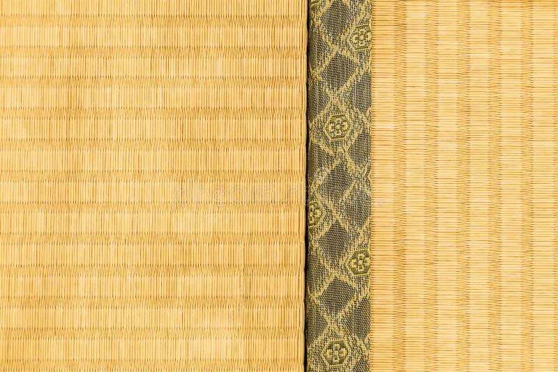 Close up of tatami, japanese traditional room mat, showing craft. Hokkaido, Japan - 27 December 2017 - Two sections of tatami, japanese traditioanl room floor royalty free stock photos