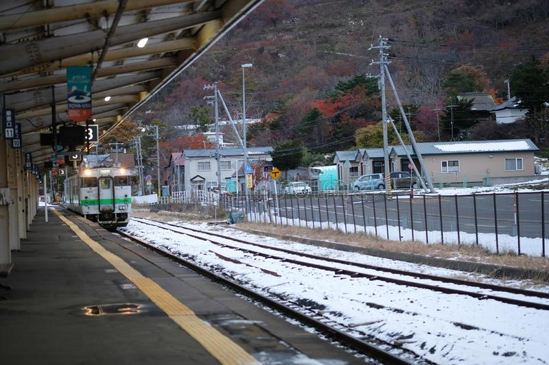 Hokkaido, Japan - November 18, 2019: Local train on on rail track Hokkaido Island Japan royalty free stock photo