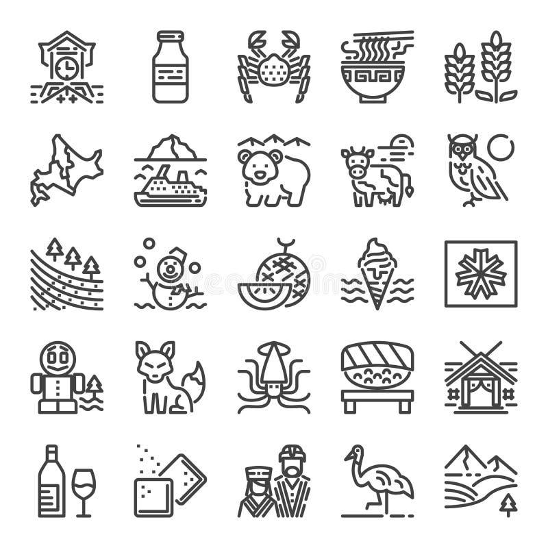 Hokkaido pixel perfect icons vector illustration