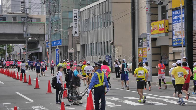 Hokkaido Sapporro Japan 20th of August 2017 Marathon Runners from all over the world gathering at the International event. Shot of Hokkaido Sapporro Japan 20th stock images