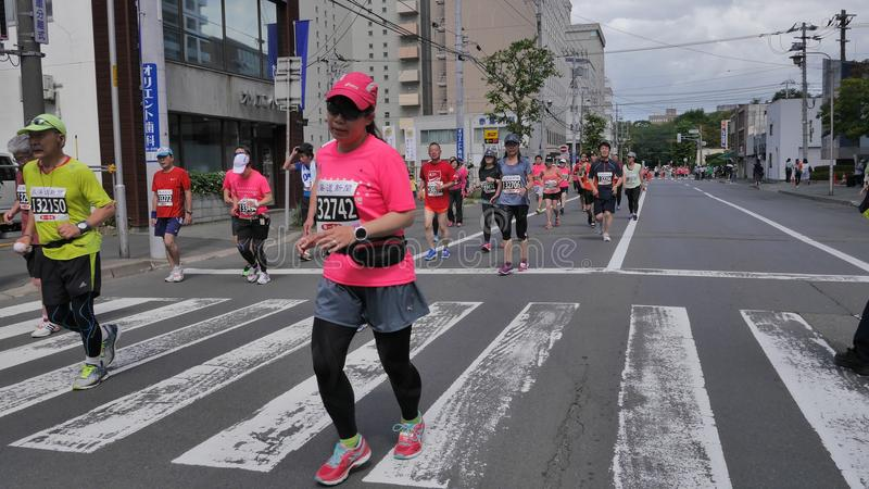 Hokkaido Sapporro Japan 20th of August 2017 Marathon Runners from all over the world gathering at the International event. Shot of Hokkaido Sapporro Japan 20th stock photo