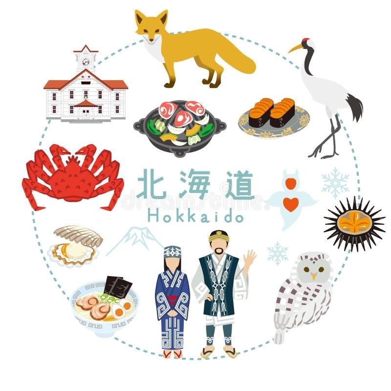 Hokkaido turystyka - Płaskie ikony ilustracja wektor