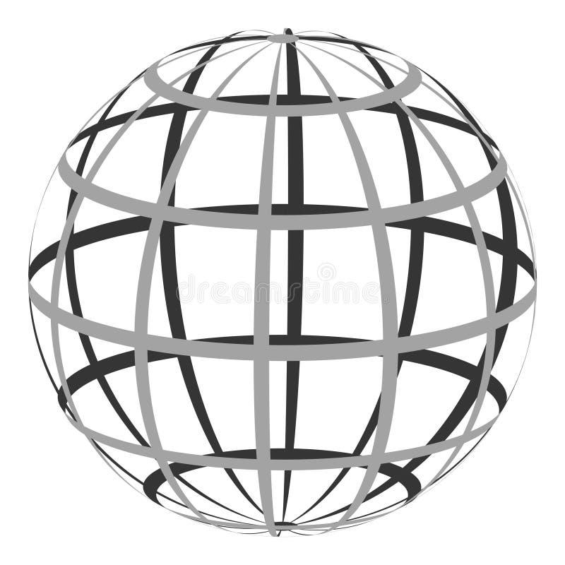 Hol gebied met een gecoördineerd net van parallel en Hoogste royalty-vrije illustratie