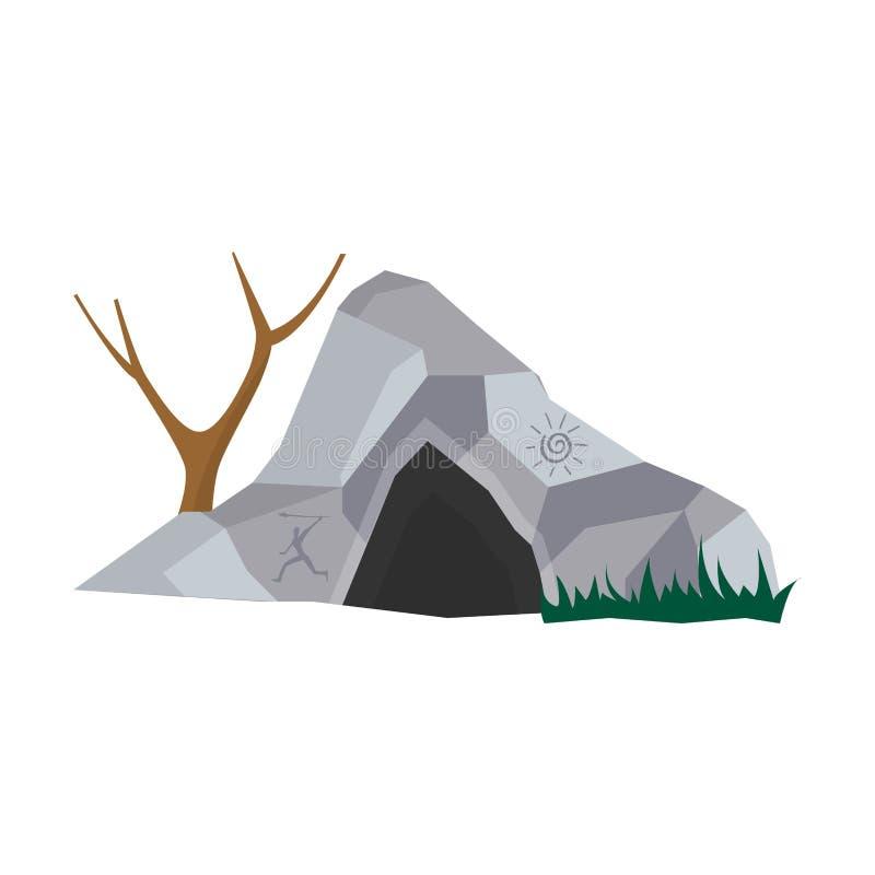 Hol in steenhuis voor voorhistorische mensen met ingang royalty-vrije illustratie