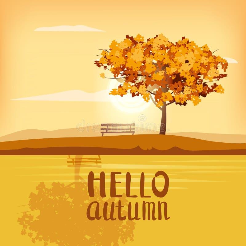 Hola árbol del paisaje del otoño que pone letras a panorama rojo marrón amarillo al aire libre del humor de la puesta del sol de  ilustración del vector
