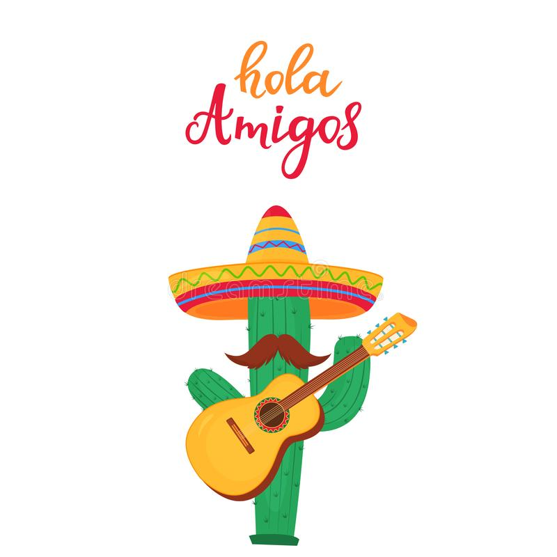 Hola Amigos hand drawn lettering. Funny cartoon cactus with a mustache in a sombrero playing the guitar. Cinco de Mayo. 5th of May vector illustration
