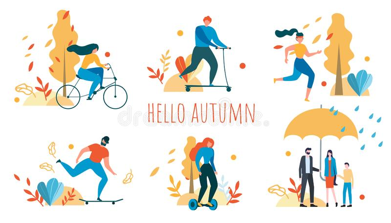 Hola Autumn Cartoon People Outdoors Activity ilustración del vector