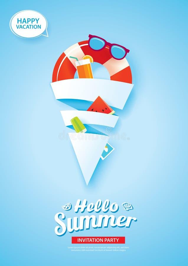Hola bandera de la tarjeta de verano con arte del papel de forma de cono del helado encendido ilustración del vector