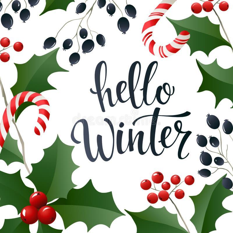 Hola bandera de las letras del invierno para el web o los medios sociales ilustración del vector