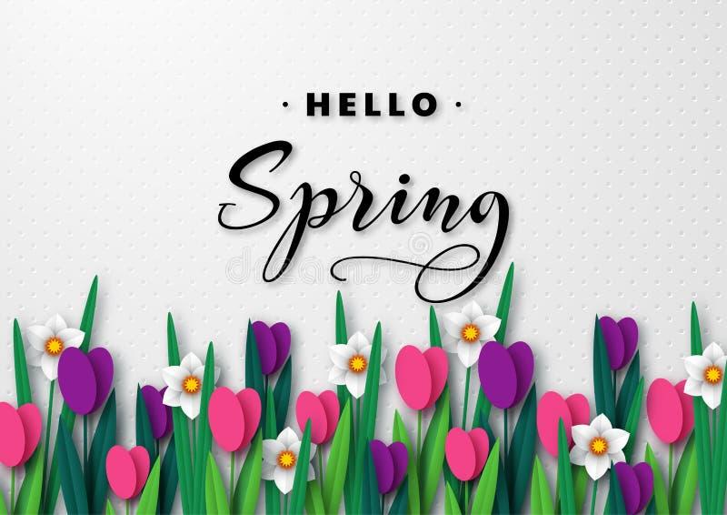 Hola bandera de saludo estacional de la primavera fotografía de archivo