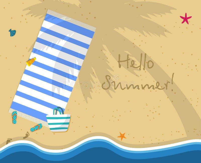 Hola bandera del cuadrado del verano Vista superior de la playa del mar libre illustration