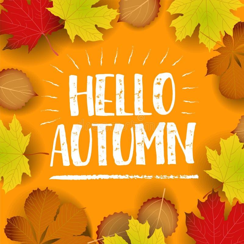 Hola bandera del otoño arce colorido de papel de la hoja del árbol, hojas del serbal en el fondo de madera de la textura libre illustration