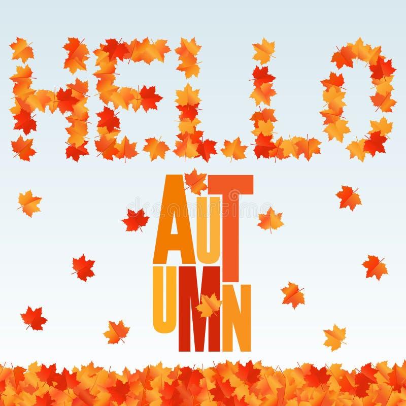 Hola bandera del otoño Fondo con las hojas de arce que caen stock de ilustración