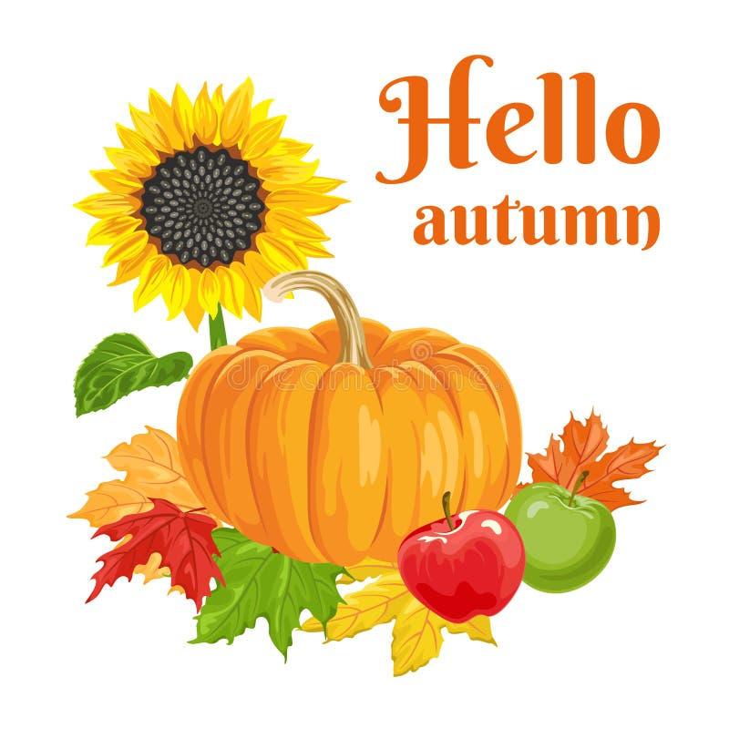 Hola bandera del oto?o Calabaza, manzanas, girasol, hojas de otoño del arce stock de ilustración