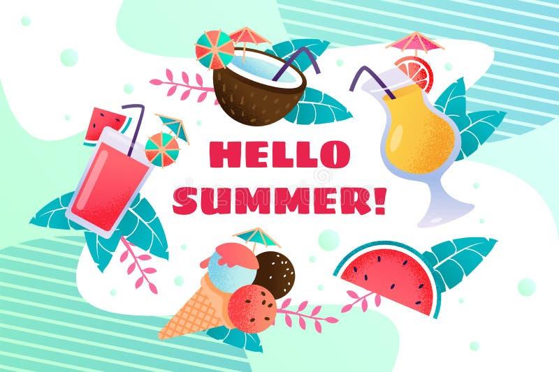 Hola bandera del verano con helado y bebidas libre illustration