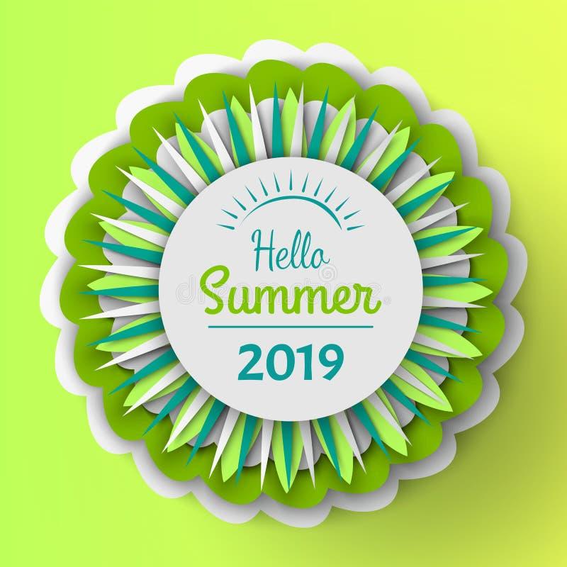 Hola bandera 2019 del verano con las flores en la floración libre illustration