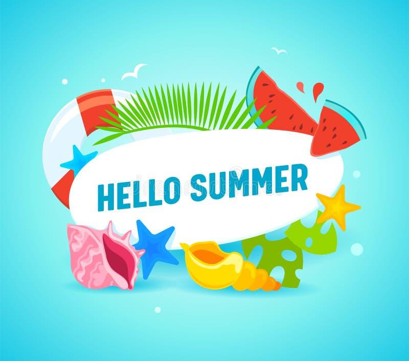 Hola bandera del verano con los artículos de la tipografía y del verano como hojas de palma, estrellas de mar, salvavidas, pedazo libre illustration