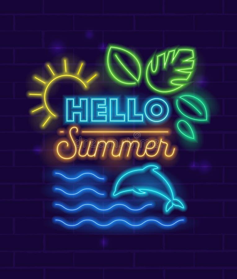 Hola bandera del verano con los elementos que brillan intensamente y la tipografía del estilo de neón en fondo de la pared de lad ilustración del vector