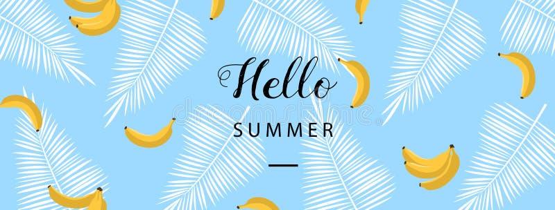 Hola bandera del verano Fondo plano del verano del estilo Papel pintado de moda del verano con la fruta Vector libre illustration