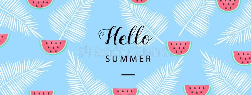 Hola bandera del verano Fondo plano del verano del estilo Papel pintado de moda del verano con la fruta Vector stock de ilustración
