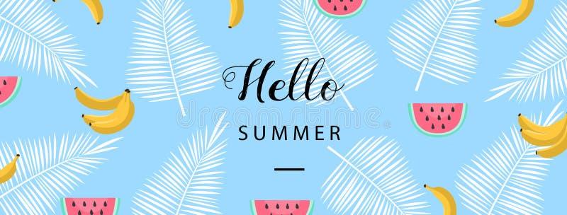 Hola bandera del verano Fondo plano del verano del estilo Papel pintado de moda del verano con la fruta Vector ilustración del vector