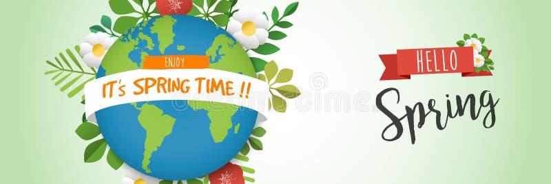 Hola bandera del web de la primavera con el planeta de la tierra verde stock de ilustración