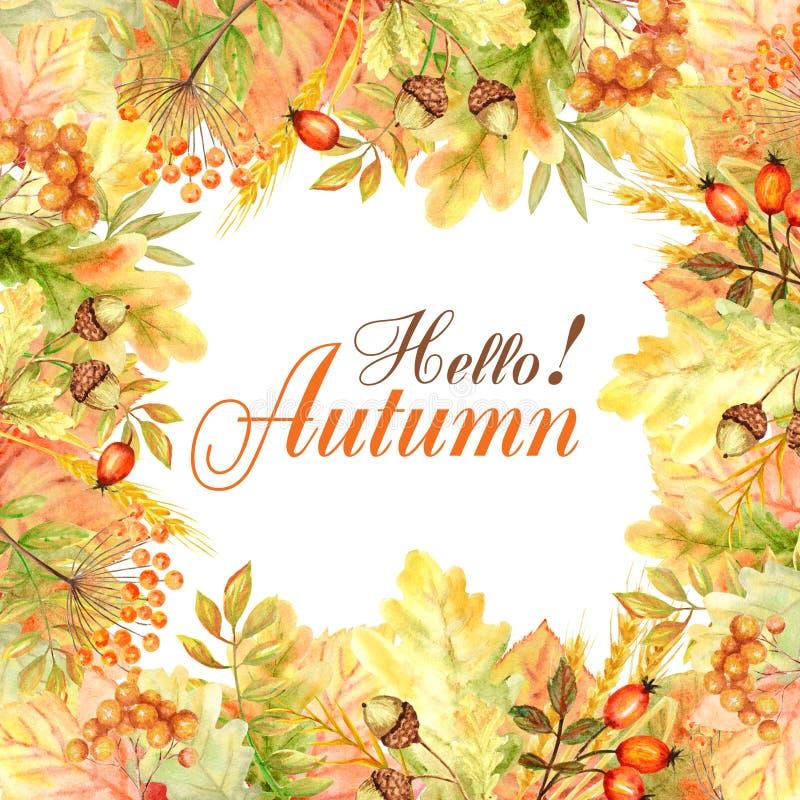 Hola capítulo de la hoja del otoño aislado en un fondo blanco Ejemplo exhausto de la mano de la hoja del otoño de la acuarela fotografía de archivo libre de regalías